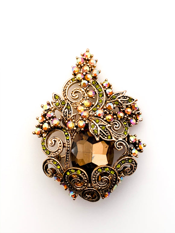 Antique Simulated Andalusite Gemstone Brooch With Rhinestones