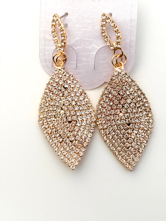 Gold Tone Crystal Teardrop Earrings - FREEda Women NYC