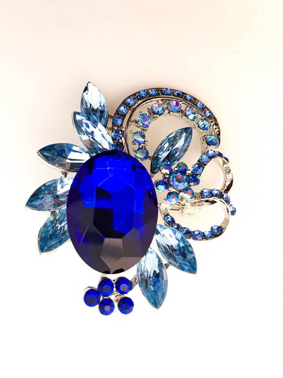 Classic Simulated Blue Sapphire Brooch - FREEda Women NYC