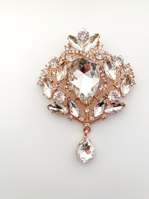 Rose Gold Vintage Crystal Brooch - FREEda Women NYC