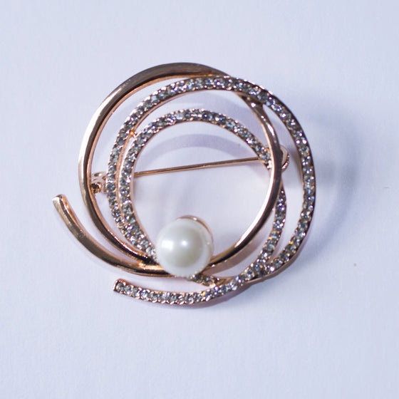 Round Gold-Toned Rhinestone Helix Brooch Pin with Faux Pearl