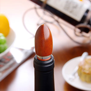 Simulated Wood and Stainless Steel Wine Stopper