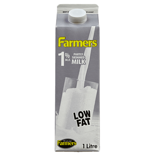 REDUCED - Expires August 21: Farmers Milk, 1%. 1L