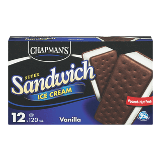 Chapman's Super Ice Cream Sandwich, Vanilla, 12 Pk