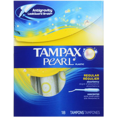 Tampax Pearl Plastic, Regular Unscented (18 pk)