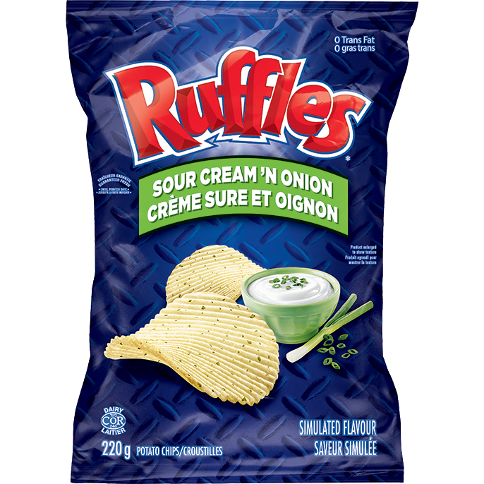 Ruffles, Sour Cream 'N Onion, 200g