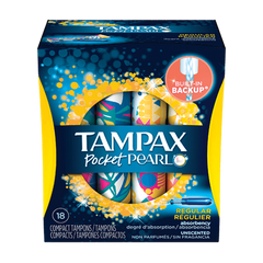 Tampax Pocket Pearl, Regular Unscented (18 Pk)
