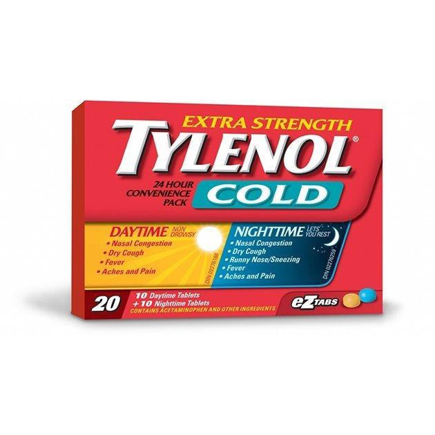 Tylenol, Cold Extra Strength, Daytime & Nighttime EZ Tabs, 20 Pack, [HFX]
