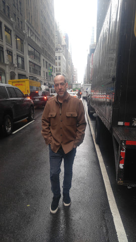 WeatherWool Advisor JR Morrissey in a Drab ShirtJac in the Garment District of New York City