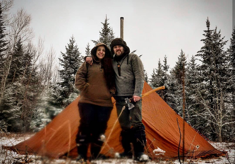 Steven Clarke, @BackCountry_King, WeatherWool Advisor, and his wife, who is wearing Steve's Anorak