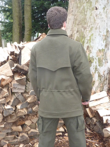 WeatherWool All Around Jacket Rear View Showing Double Yoke and Drawcord