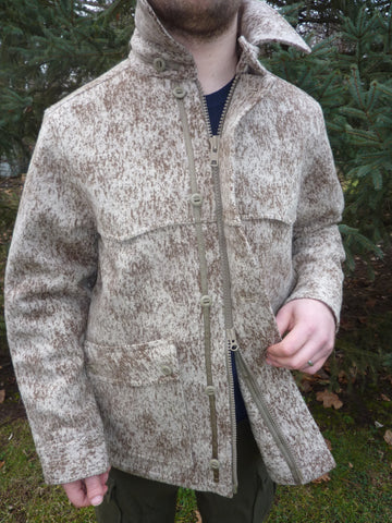 WeatherWool All Around Jacket in Lynx Pattern showing Front Double Zipper and Storm Flap and Slot Buttons