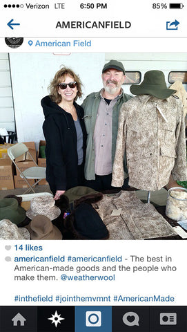 Debby and Ralph brought WeatherWool to the American Field Show