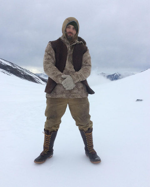 WeatherWool Advisor and Contestant on TV's Dual Survival, Bill McConnell in his Lynx Pattern Anorak atop a glacier in Chile