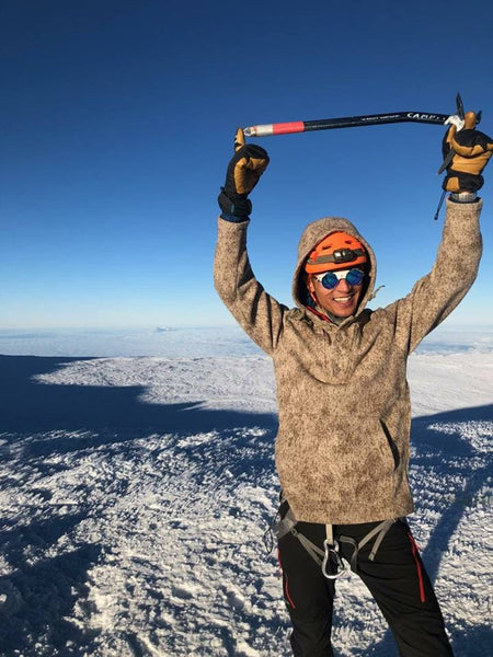 WeatherWool Advisor Don Nguyen @The_Real_Don_Nguyen at the summit of Mount Rainier in his WeatherWool Lynx Pattern Anorak