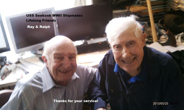 Ray Corbo, right, and Ralph DiMeo Sr, left, the Godfather and Father of WeatherWool Founder Ralph DiMeo.  This photo was taken on my Dad's 90th Birthday. Ray and Ralph became friends while serving together in the United States Navy in World War II in the Pacific Theater