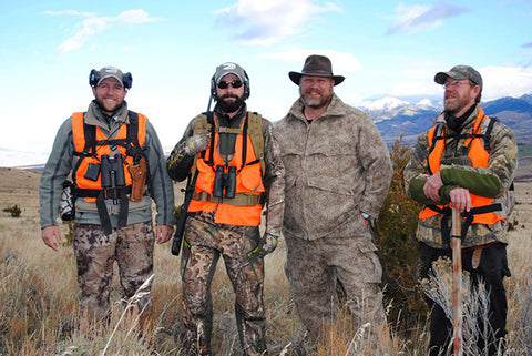 Heath Gunns (no blaze orange) of HAVA in Montana wearing WeatherWool in Lynx Pattern