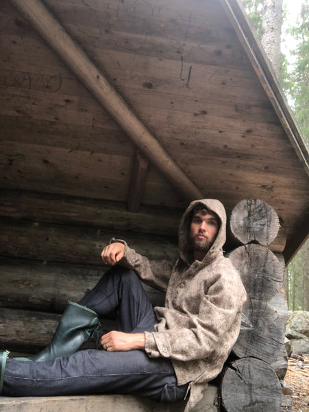 WeatherWool Catalog model Hampus Svard wore his Anorak in Lynx Pattern in his native Sweden