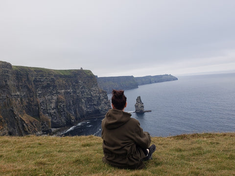 WeatherWool Anorak in Solid Drab Color at the Cliffs of Moher, Ireland