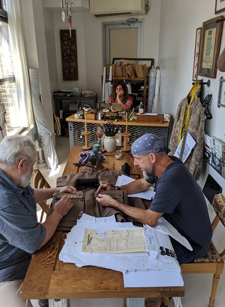 WeatherWool Advisor JR Morrissey, owner of The Factory8, working in his studio with Ralph of WeatherWool and Anya Ferring, JR's assistant, in the background