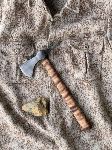 WeatherWool is very pleased to see our ShirtJac with an original Jerry Fisk Throwing Hatchet.  Also is the photo is a Magdalenian Hand Ax made in England about 15,000 years ago.