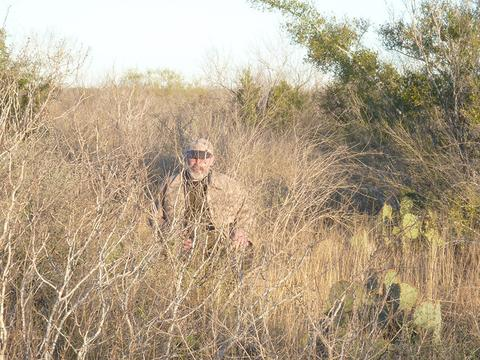 WeatherWool Lynx Pattern is very difficult to see in the brush and grass of South Texas