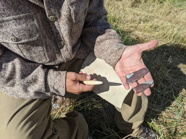 WeatherWool Advisor Bill McConnell, proprietor of the PAST SKILLS School, is a renowned flintknapper. Here he shows us a little bit of flintknapping while wearing his WeatherWool ShirtJac.