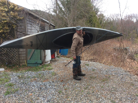 WeatherWool Advisor Mike Dean in ShirtJac in Maine with Kayak and Fishing Pole