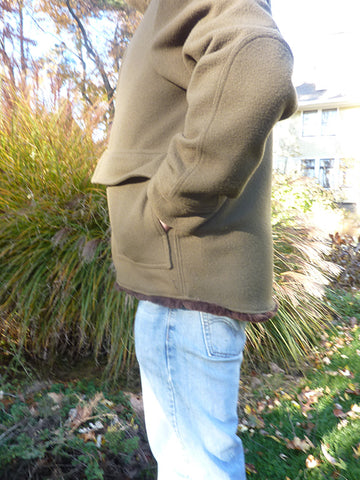WeatherWool Mouton Jacket from the Side.  Cargo pockets and elbow patches are optional
