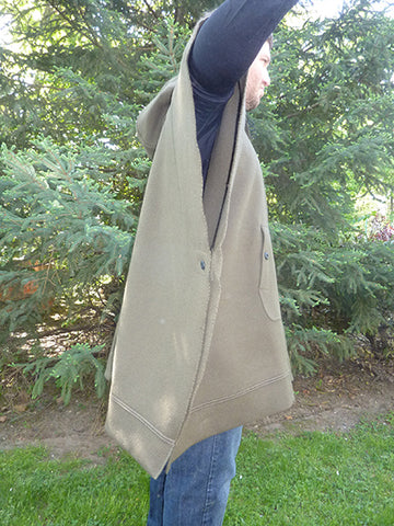 WeatherWool Poncho, side view, arm extended