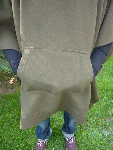 WeatherWool Poncho in Solid Drab Color, Hands in Front Pouch