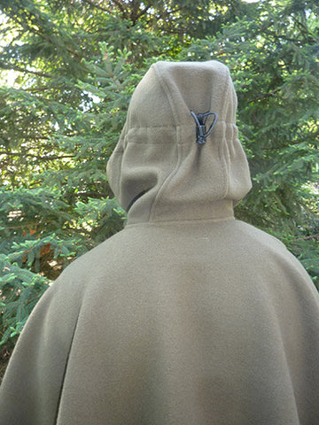 WeatherWool Poncho with Rear Hood Adjustment snugged -- Hood Pulled Back