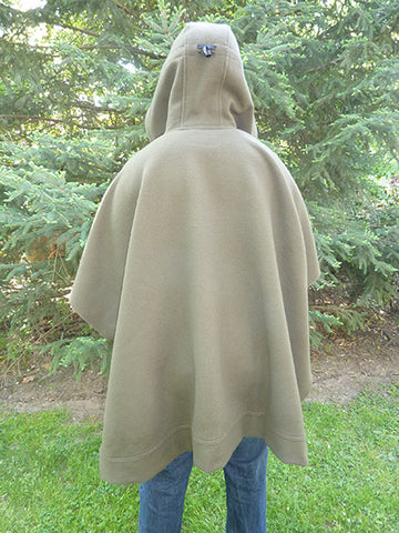 WeatherWool Poncho in Solid DRAB Color, rear view