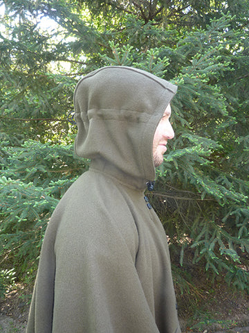 WeatherWool Poncho with Hood Snugged and pulled part way back
