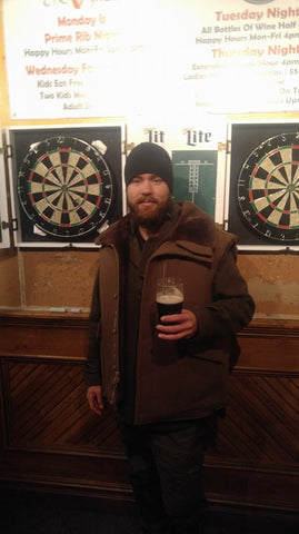 WeatherWool Advisor Rob Allen in Anorak and Mouton Vest in a bar in Jersey