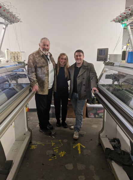 WeatherWool is learning about and beginning to work with knits and knitting machines, such as these Shima Seiki USA Whole Garment machines at Tailored Industry in Brooklyn, New York. Ralph is pictured here with Tailored Industry Owners Kady Gray and Alex Tschopp