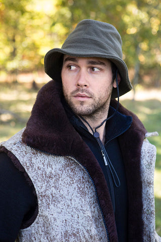 WeatherWool Advisor Chase Burnett in a Mouton Vest and Boonie Hat