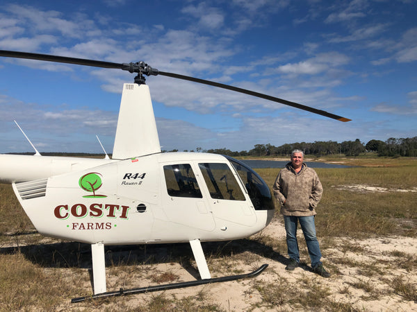 Friends of WeatherWool at Costi Farms in Australia, a world leader in Macadamia Nut Production, wear WeatherWool for flying and for farm work