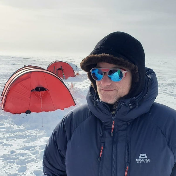 A customer wore the WeatherWool Mouton Hat and Neck Gaiter during a trek to the Absolute South Pole in Antarctica.