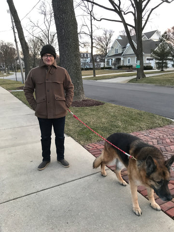 WeatherWool All-Around Jacket walking the dog in Chicago Suburbs