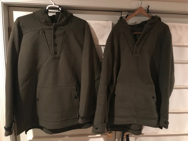 Two WeatherWool Anoraks ... one has seen severe use, the other is brand new. Even up close and in person, it's difficult to impossible to tell which has been worn for months of hard use, and which one has never been worn.