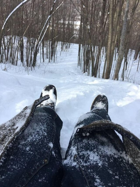WeatherWool Hoodie used as a sled by @SisterPearl in Upstate New York.  WeatherWool pure wool Merino Jacquard Fabric is tough and here is some serious proof!