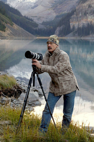 Outdoor Writer, Photographer and Media Personality Ron Spomer enjoys his WeatherWool All-Around Jacket in Lynx Pattern