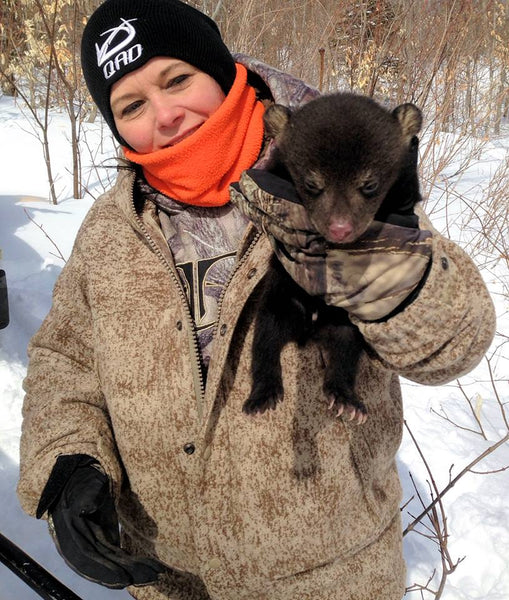 Twyla Jean wore her WeatherWool SkiJacket while doing Black Bear Research with the Biologists from the State of Maine