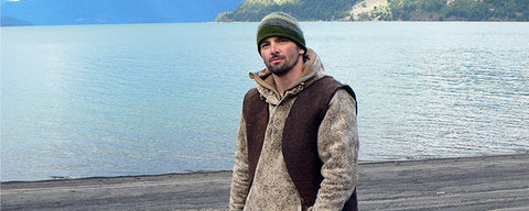 WeatherWool Advisor Bill McConnell wore WeatherWool Al's Anorak in Lynx Pattern on Discovery Channel Dual Survivor in Patagonian Chile