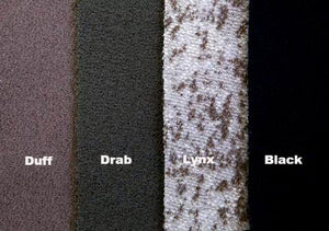 WeatherWool Color Palette ... Solid Colors Duff, Drab and Black.  And proprietary Lynx Pattern