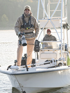 WeatherWool Advisor Mike Engelmeyer is a professional commercial photographer specializing in outdoor products. Photo by Jason Preston. Mike, in the tower, is wearing his WeatherWool Anorak in Lynx Pattern. Thanks for photo by:  Tony Kalil of Kalil Media.