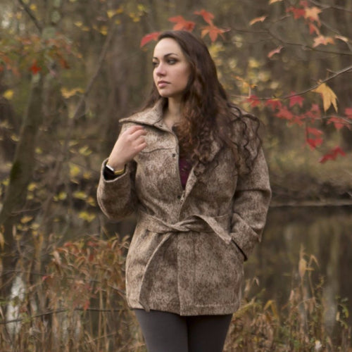 WeatherWool pure merino Jacquard wool fabric Ladies Field Jacket in Lynx Pattern