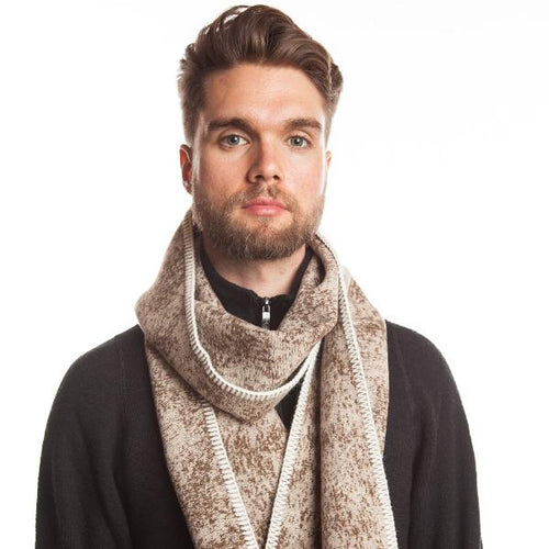 WeatherWool Scarves are pure merino Jacquard Fabric trimmed with alpaca yarn