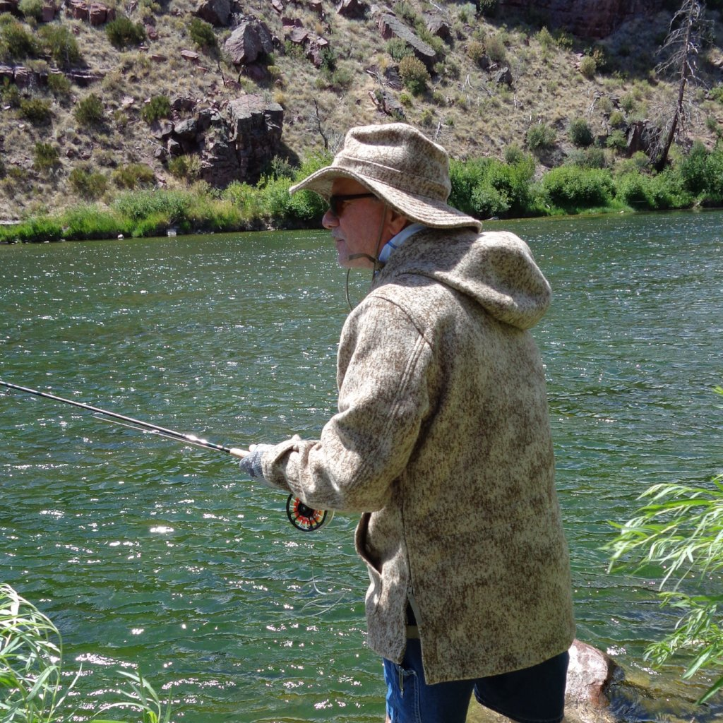 Arkansas Fly Fishing Guide and WeatherWool Advisor Marc Poulos in his WeatherWool Anorak in Lynx Pattern